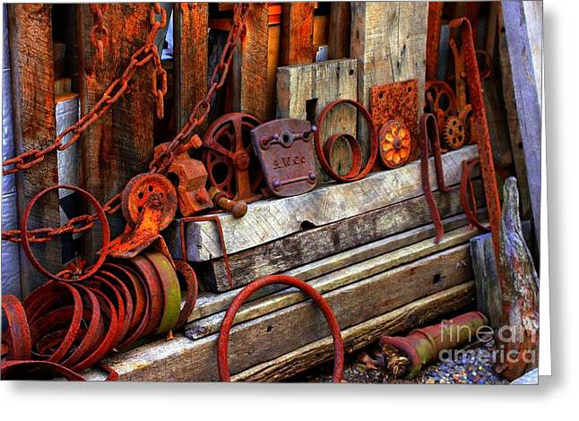 Weathered Rims And Chains Greeting Card by Marcia Lee Jones