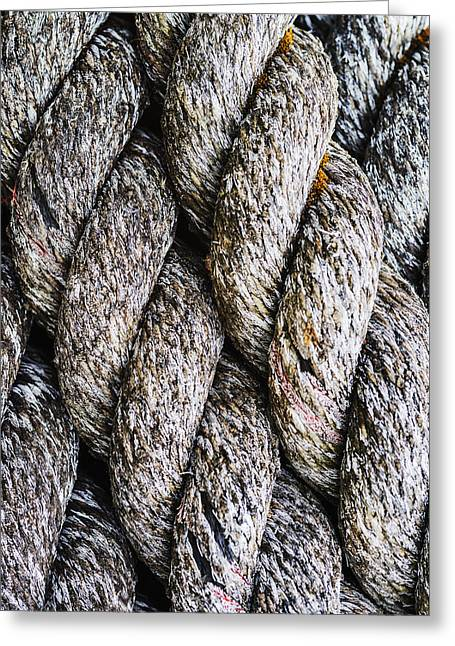 Old Stuff Greeting Cards - Weathered rope closeup Greeting Card by Vishwanath Bhat