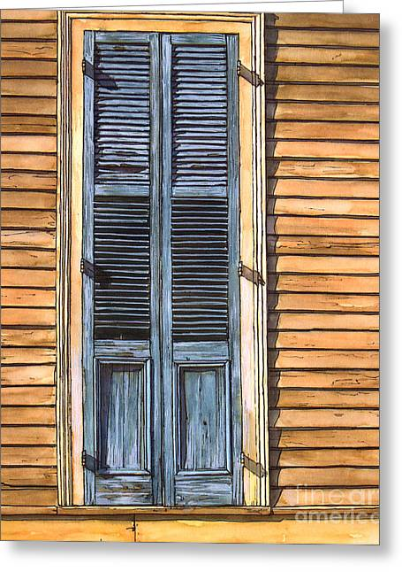 French Doors Greeting Cards - Weathered Shutters Greeting Card by John Boles