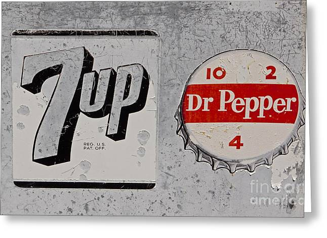 Seven-up Sign Greeting Cards - Weathered Soft Drink Signs   #0999 Greeting Card by J L Woody Wooden