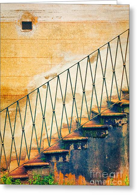 Weathered Stairs And Wall Greeting Card by Silvia Ganora