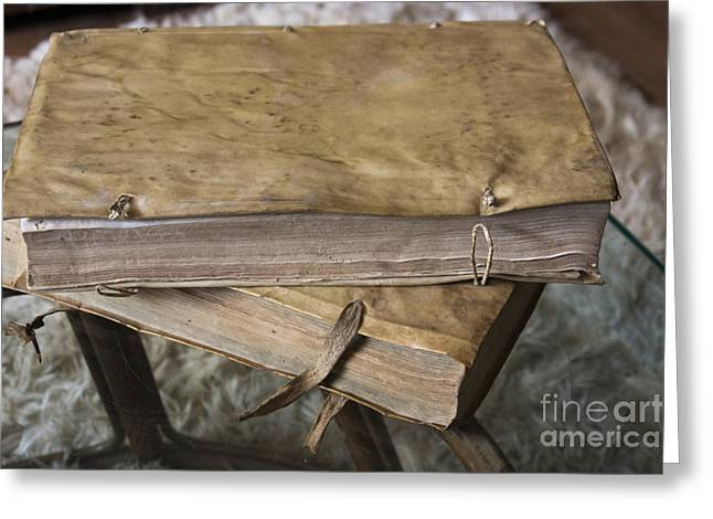 Tome Greeting Cards - Weathered Tomes Of Old Greeting Card by Al Bourassa