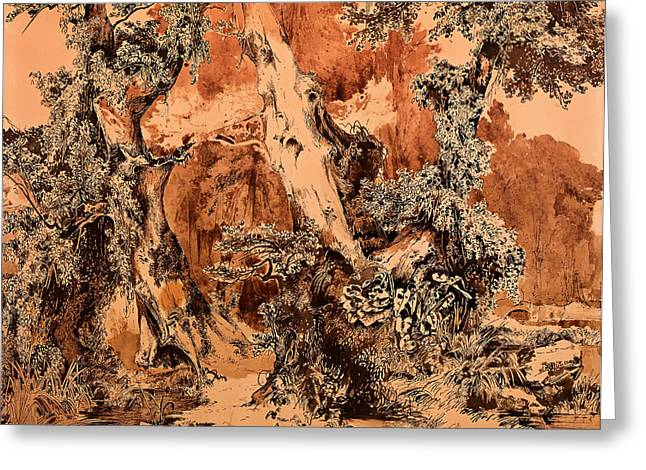 Gnarled Drawings Greeting Cards - Weathered Tree Trunks in a Park Greeting Card by Karl Blechen