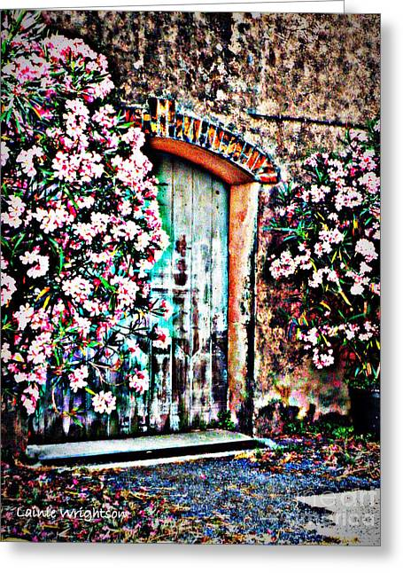 Lainie Wrightson Greeting Cards - Weathered Vineyard Door Greeting Card by Lainie Wrightson