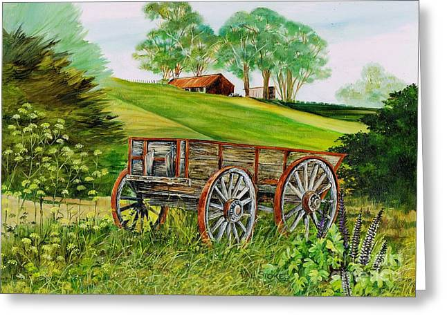 Spokes Paintings Greeting Cards - Weathered Wheels Greeting Card by Val Stokes
