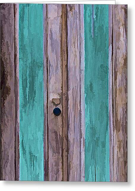 Entranceway Greeting Cards - Weathered Wood Door of the Caribbean II Greeting Card by David Letts