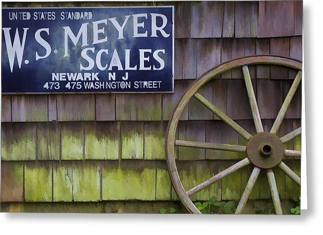 Old Western Photos Greeting Cards - Weathered Wood Wagon Wheel Greeting Card by David Letts