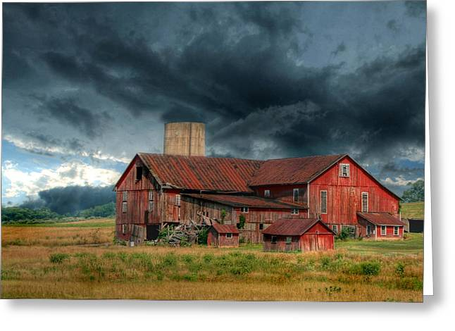 Red Barn Greeting Cards - Weathering the Storm Greeting Card by Lori Deiter