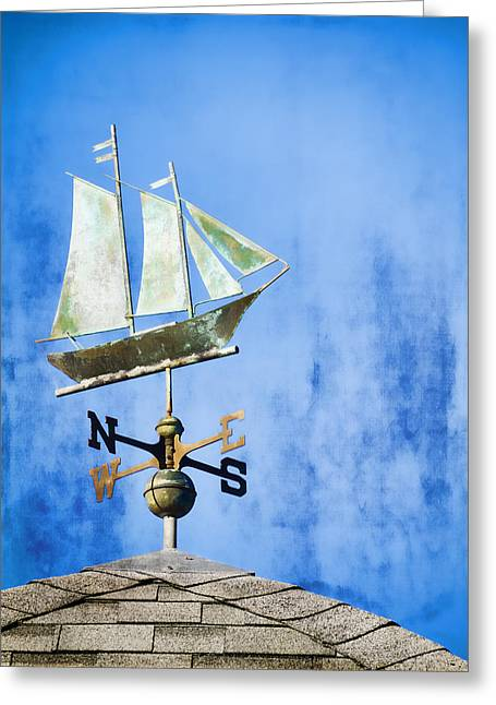 Wind Vane Greeting Cards - Weathervane Clipper Ship Greeting Card by Carol Leigh
