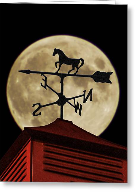 Weathervane Greeting Cards - Weathervane before the Moon Greeting Card by Wes Jimerson