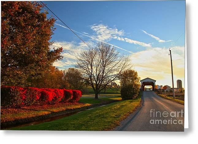 Covered Bridge Greeting Cards - Weaver Mill Covered Bridge Landscape Greeting Card by Adam Jewell