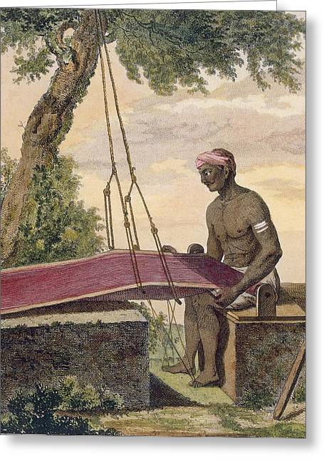 Loom Greeting Cards - Weaver Of Cloth, From Voyage Aux Indes Greeting Card by Pierre Sonnerat