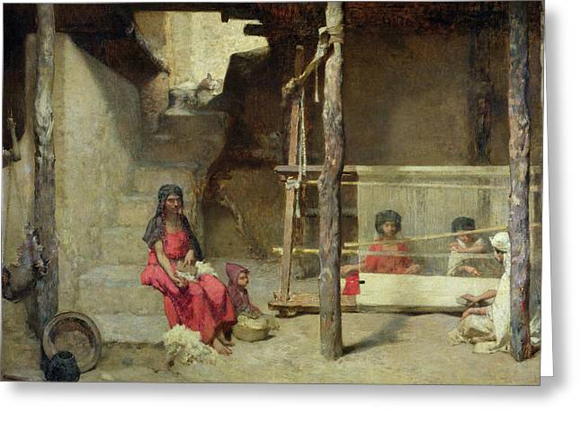 Loom Greeting Cards - Weavers At Bou-saada Oil On Canvas Greeting Card by Gustave Guillaumet
