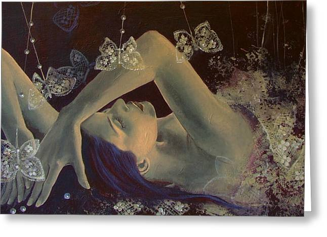 Reverie Paintings Greeting Cards - Weaving lace wings... Greeting Card by Dorina  Costras