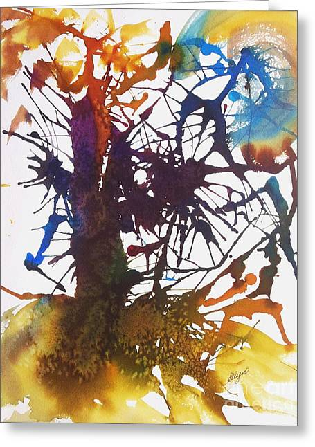 Modern Art Greeting Cards - Web of Life Greeting Card by Ellen Levinson