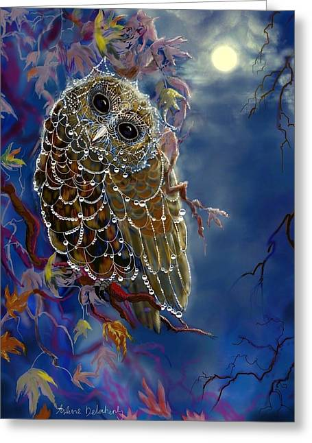 Dewdrops Paintings Greeting Cards - Web Wardrobe for Owl Parties Greeting Card by Arlene Delahenty