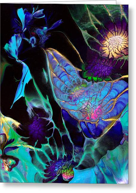 Outer Space Paintings Greeting Cards - Webbed Galaxy Greeting Card by Nan Bilden