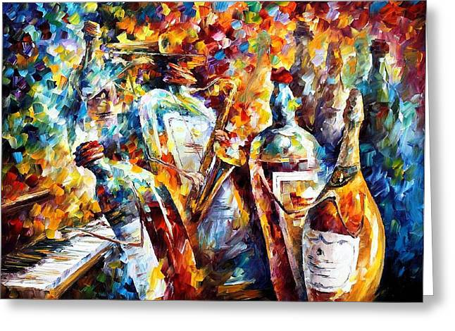 Popular Art Greeting Cards - Wedding Anniversary - PALETTE KNIFE Oil Painting On Canvas By Leonid Afremov Greeting Card by Leonid Afremov