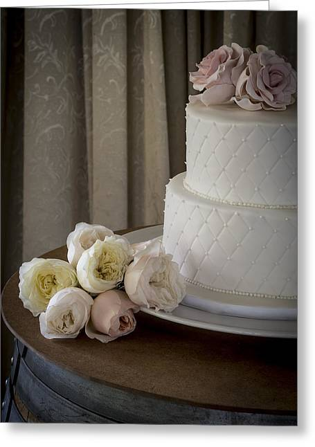 Decorate Greeting Cards - Wedding Cake Adorned With Roses Greeting Card by Justin Woodhouse
