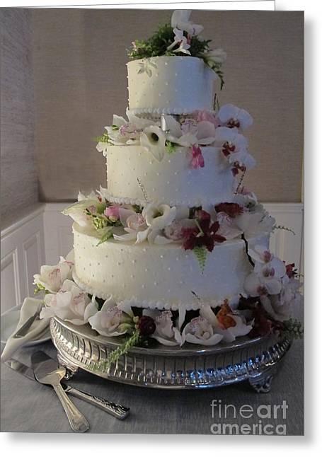 Chocoholic Greeting Cards - Wedding Cake In Bloom Greeting Card by Arlene Carmel