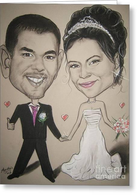 Bride And Groom Greeting Cards - Wedding Caricature Greeting Card by Anastasis  Anastasi