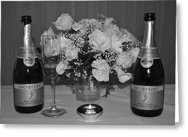 White Cloth Greeting Cards - Wedding Champagne Greeting Card by Frozen in Time Fine Art Photography