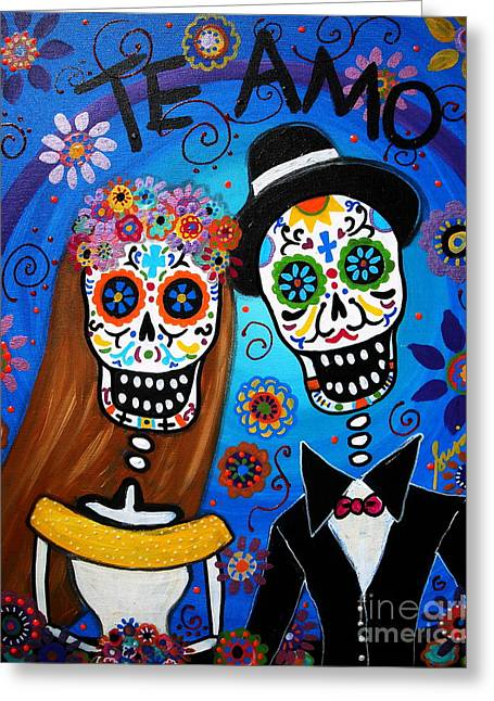 Dia De Los Muertos Art Greeting Cards - Wedding Couple  Greeting Card by Pristine Cartera Turkus