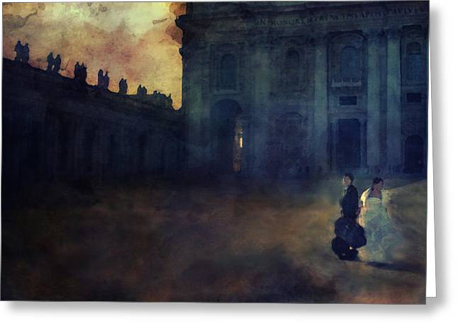 Tuscan Sunset Digital Art Greeting Cards - Wedding Couple Rome Greeting Card by Sue Fulton