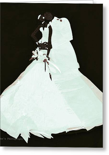 White Dress Tapestries - Textiles Greeting Cards - Wedding Couple Greeting Card by Ruth Yvonne Ash
