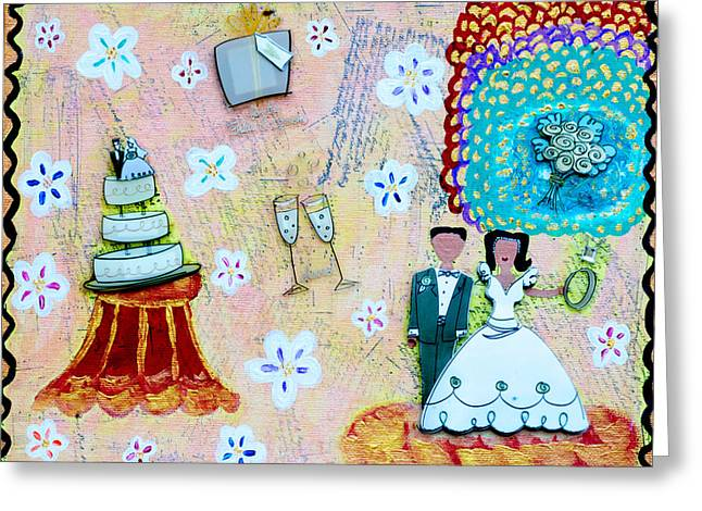 Tuxedo Mixed Media Greeting Cards - Wedding Day Greeting Card by Jessica Marin-feliciano