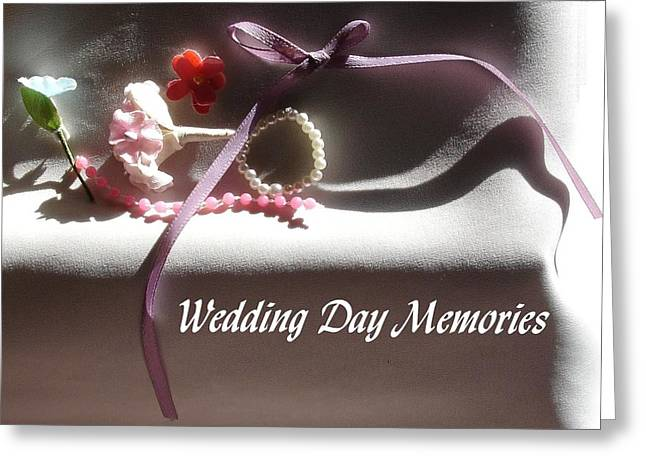 Wedding Day Greeting Cards - Wedding Day Souvenirs with text Greeting Card by Deborah DR Kralich