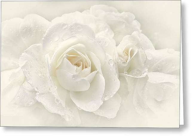 Ivory Roses Greeting Cards - Wedding Day White Roses Greeting Card by Jennie Marie Schell