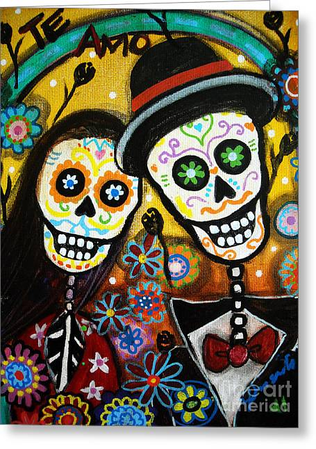 Des Paintings Greeting Cards - Wedding Dia De Los Muertos Greeting Card by Pristine Cartera Turkus