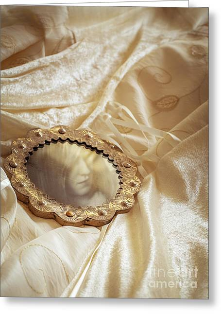 Glass Reflecting Greeting Cards - Wedding Dress And Mirror Greeting Card by Amanda And Christopher Elwell