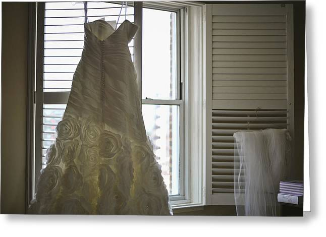 Strapless Dress Greeting Cards - Wedding Dress and Veil by the Window Greeting Card by Mike Hope