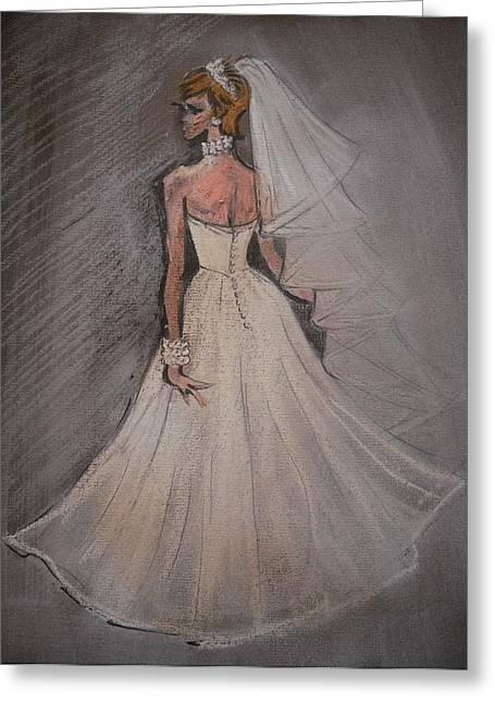 Veiled Pastels Greeting Cards - Wedding Dress back Greeting Card by Michelle Deyna-Hayward
