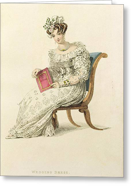 Long Sleeved Dress Greeting Cards - Wedding Dress, Fashion Plate Greeting Card by English School