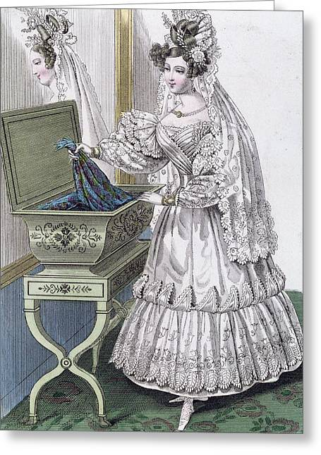 Casket Greeting Cards - Wedding dress Greeting Card by French School