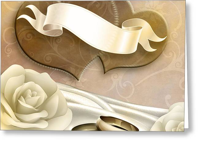 Blank Greeting Cards Mixed Media Greeting Cards - Wedding Memories V2 Sepia Greeting Card by Bedros Awak
