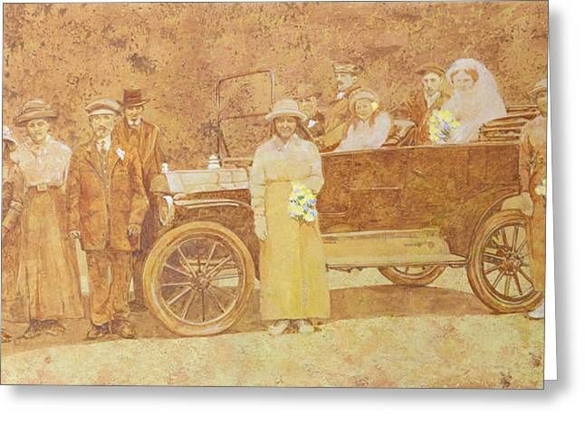 Edwardian Greeting Cards - Wedding Party Wc On Paper Greeting Card by Clive Metcalfe