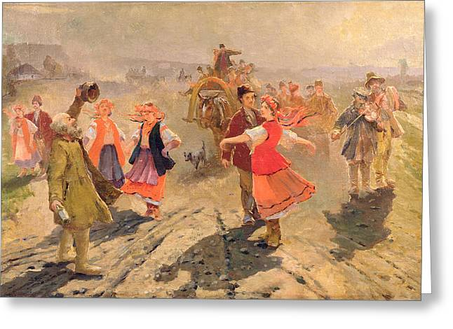 Peasant Greeting Cards - Wedding Procession In The Orel Region Oil On Canvas Greeting Card by Vladimir Egorovic Makovsky