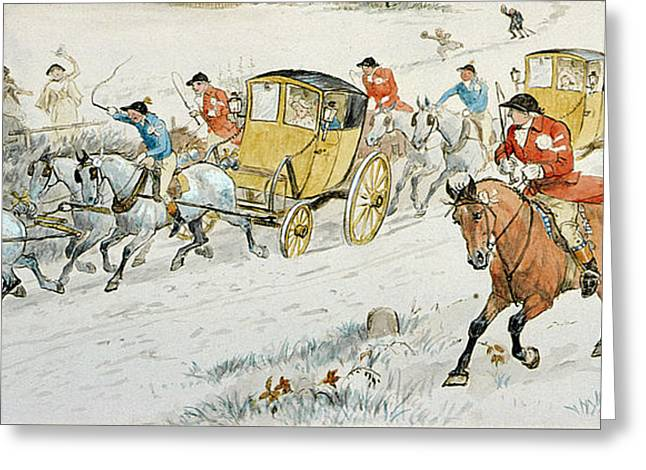 Wedding Procession Returning From Church Greeting Card by Randolph Caldecott