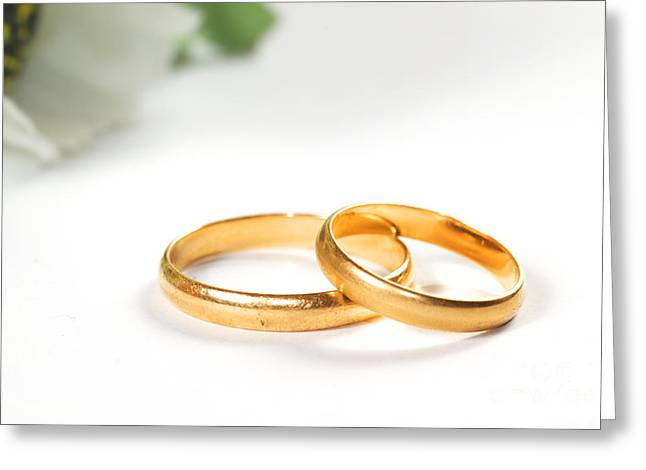 Jewellery Greeting Cards - Wedding rings Greeting Card by Michal Bednarek