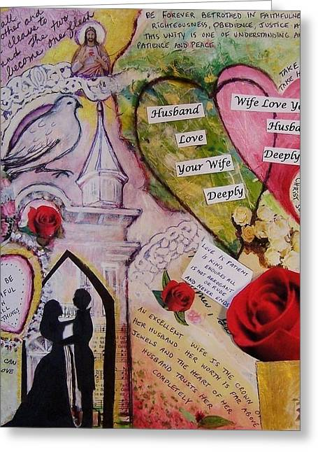 Betrothed Greeting Cards - Wedding Vows of God - A Good Husband and A Good Wife Greeting Card by Dana Vacca