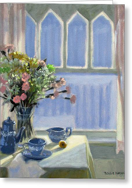Still Life By Window Greeting Cards - Wedgewood Blues - Flowers by the Window Greeting Card by Bonnie Mason