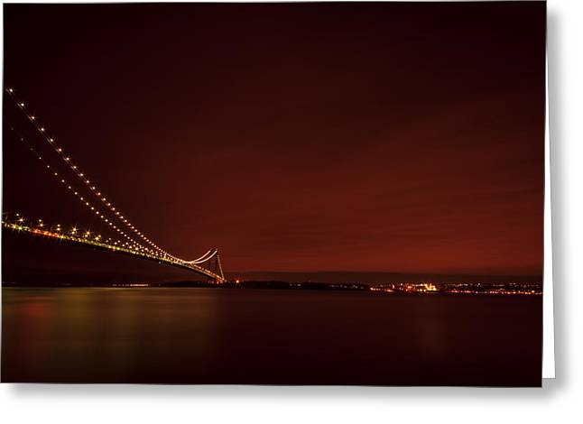 Famous Bridge Greeting Cards - Wednesday Night Lights Greeting Card by Evelina Kremsdorf