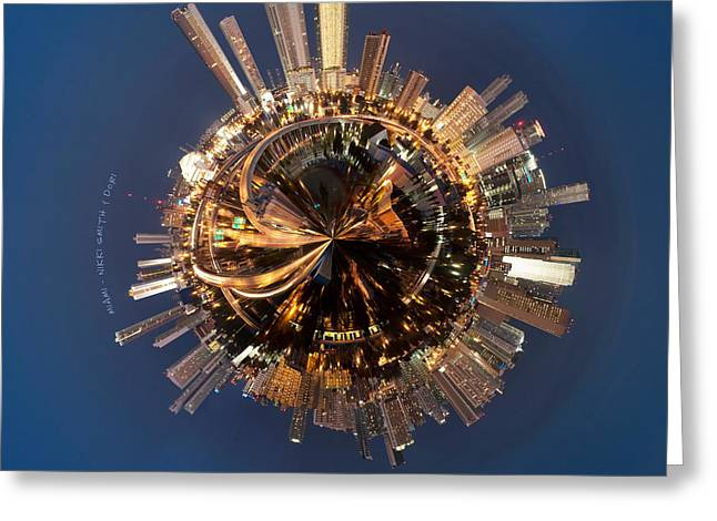 Night Life Greeting Cards - Wee Miami Planet Greeting Card by Nikki Marie Smith