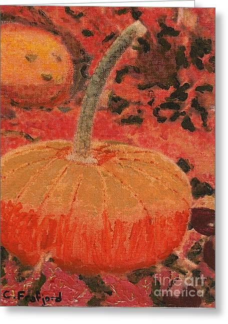 Pumpkins Pastels Greeting Cards - Wee Pumpkin Greeting Card by Cara Frafjord
