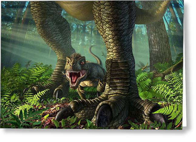 Prehistoric Digital Greeting Cards - Wee Rex Greeting Card by Jerry LoFaro