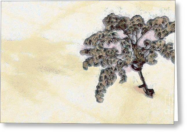 Old Barn Drawing Greeting Cards - Weeds in the snow Greeting Card by Odon Czintos